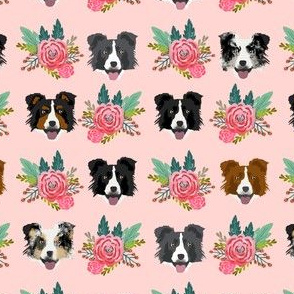 border collie florals fabric dogs floral design