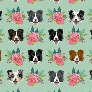 border collie florals fabric dogs floral design