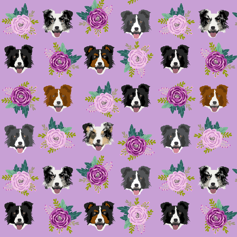 border collie florals fabric dogs floral design fabric by petfriendly on Spoonflower - custom fabric