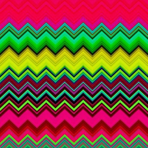 BRIGHT FRUITY  TROPICAL CHEVRONS MULTICOLOR