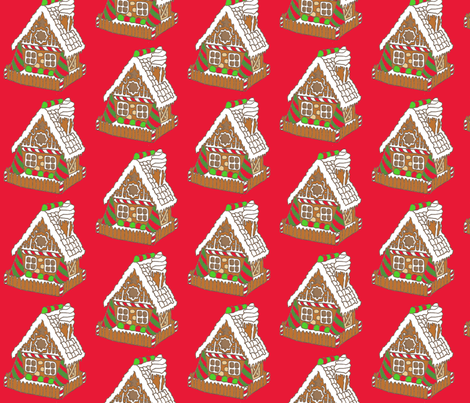 Gingerbread House fabric by walking_fox_designs on Spoonflower - custom fabric