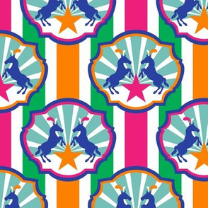 Circus Ponies and Stars Multi Stripes Pink and Orange