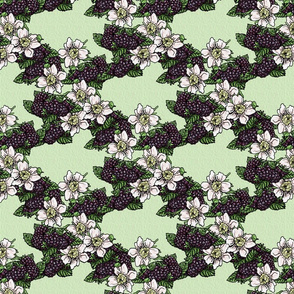Blackberries and Blossoms  Lattice - Moss Green Weave - Large scale