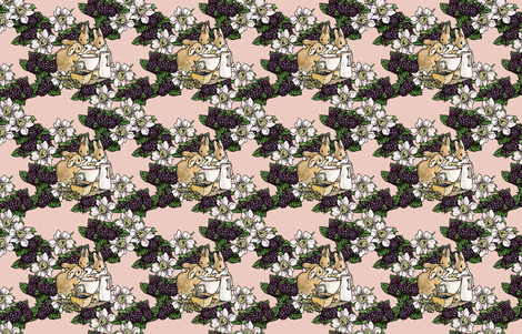 Blackberries and Cream - Cottontail Sisters - Aged Pink Woven - Large scale fabric by aspenartsstudio on Spoonflower - custom fabric