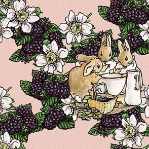 Blackberries and Cream - Cottontail Sisters - Aged Pink Woven - Large scale
