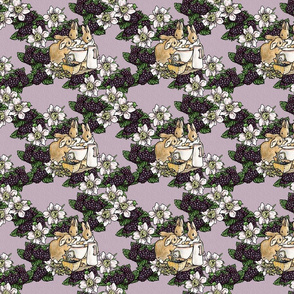 Miss Mopsy - Blackberries and Cream - Blackberry Floral Lattice - Lavender woven