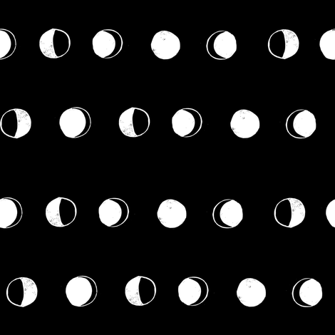moon phases fabric // astronomy night sky moon eclipse full moons design black and white fabric by andrea_lauren on Spoonflower - custom fabric