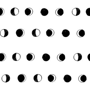 moon phases fabric // astronomy night sky moon eclipse full moons design white black