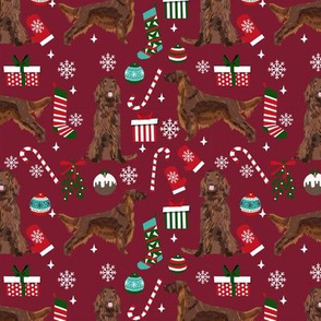 Irish Setter red coat christmas fabric candy canes christmas stockings snowflakes ruby