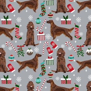 Irish Setter red coat christmas fabric candy canes christmas stockings snowflakes grey