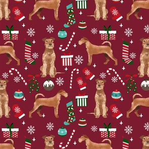 Irish Terrier christmas fabric candy canes christmas stockings snowflakes ruby