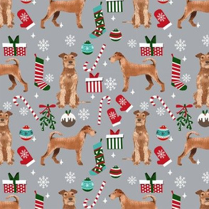 Irish Terrier christmas fabric candy canes christmas stockings snowflakes grey
