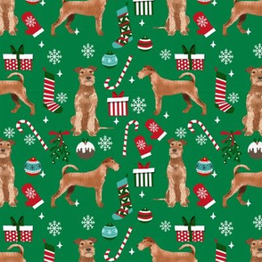 Irish Terrier christmas fabric candy canes christmas stockings snowflakes green
