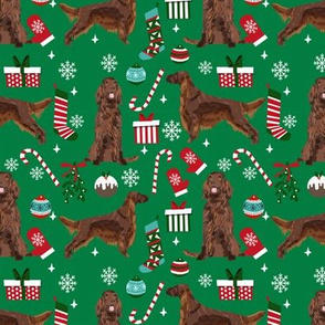 Irish Setter red coat christmas fabric candy canes christmas stockings snowflakes green