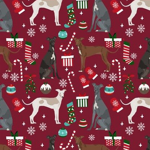 Italian Greyhound christmas fabric candy canes christmas stockings snowflakes ruby