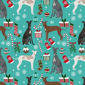 Italian Greyhound christmas fabric candy canes christmas stockings snowflakes blue
