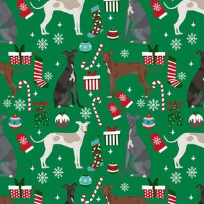 Italian Greyhound christmas fabric candy canes christmas stockings snowflakes green