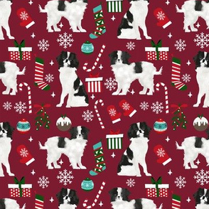 Japanese Chin christmas fabric candy canes christmas stockings snowflakes ruby