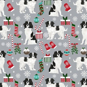Japanese Chin christmas fabric candy canes christmas stockings snowflakes grey