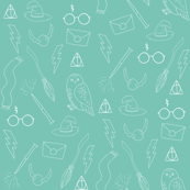 wizard doodle - aqua witch, wizard, magic, glasses, broom, wand, hat,