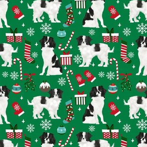 Japanese Chin christmas fabric candy canes christmas stockings snowflakes green