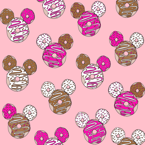 mouse ears donuts - cute theme park donuts - pink fabric by neverlandtowonderland on Spoonflower - custom fabric