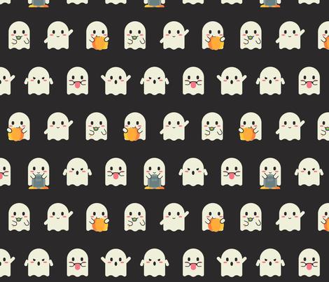 Halloween Ghost Emojis fabric by heatherhightdesign on Spoonflower - custom fabric
