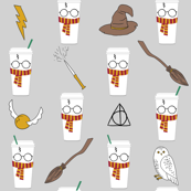 wizard coffee - coffee fabric, magic coffee, magic fabric, magic school coffee, snowy owl, cute