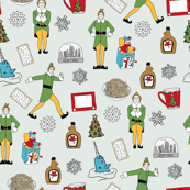 elf fabric - buddy fabric, bye bye buddy,  narwhal fabric, christmas fabric, christmas elf, holiday, xmas - light
