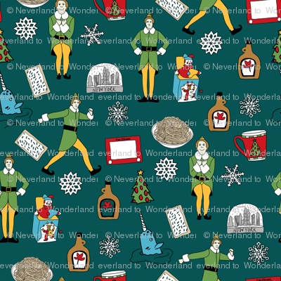 elf fabric - buddy fabric, bye bye buddy,  narwhal fabric, christmas fabric, christmas elf, holiday, xmas - dark green