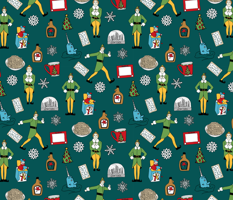 elf fabric - buddy fabric, bye bye buddy,  narwhal fabric, christmas fabric, christmas elf, holiday, xmas - dark green fabric by neverlandtowonderland on Spoonflower - custom fabric