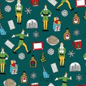 elf fabric - buddy fabric, bye bye buddy,  narwhal fabric, christmas fabric, christmas elf, holiday, xmas - dark green