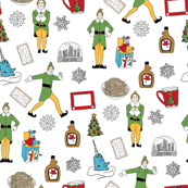 elf fabric - buddy fabric, bye bye buddy,  narwhal fabric, christmas fabric, christmas elf, holiday, xmas - white