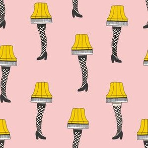 leg lamp fabric, christmas fabric, christmas movie fabric, funny cute fabric - pink