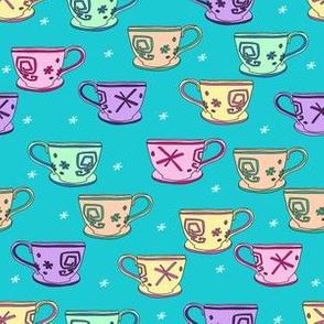 pastel teacup fabric, alice's teacups, teacup fabric, cute magical wonderland fabric, wonderland fabric, teacup design - turquoise