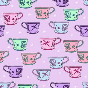 pastel teacup fabric, alice's teacups, teacup fabric, cute magical wonderland fabric, wonderland fabric, teacup design -  lavender