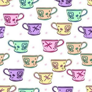 pastel teacup fabric, alice's teacups, teacup fabric, cute magical wonderland fabric, wonderland fabric, teacup design -  white