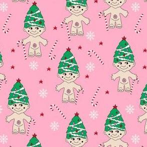 christmas troll doll fabric, troll fabric, cute christmas fabric, christmas design, christmas tree fabric -  pink