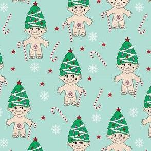 christmas troll doll fabric, troll fabric, cute christmas fabric, christmas design, christmas tree fabric -  light