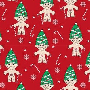 christmas troll doll fabric, troll fabric, cute christmas fabric, christmas design, christmas tree fabric - red