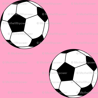 Two Inch Black and White Soccer Balls on Carnation Pink