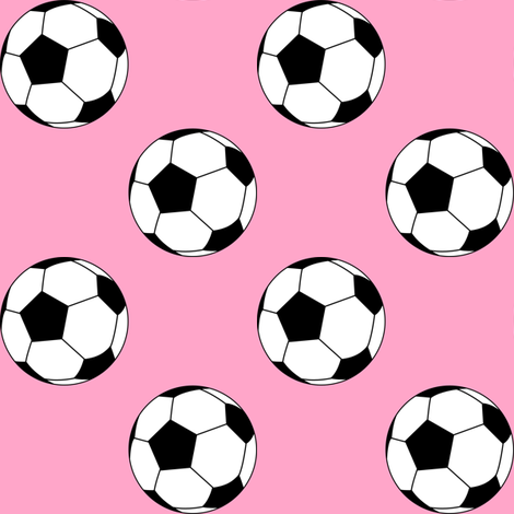 Two Inch Black and White Soccer Balls on Carnation Pink fabric by mtothefifthpower on Spoonflower - custom fabric