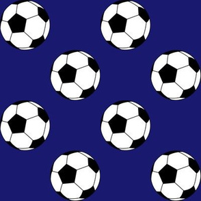 Two Inch Black and White Soccer Balls on Midnight Blue
