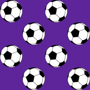 Two Inch Black and White Soccer Balls on Purple