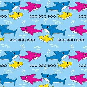 shark baby fabric - cute shark fabric, baby fabric, kids fabric, song, funny, cute