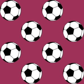 Two Inch Black and White Soccer Balls on Sangria Pink