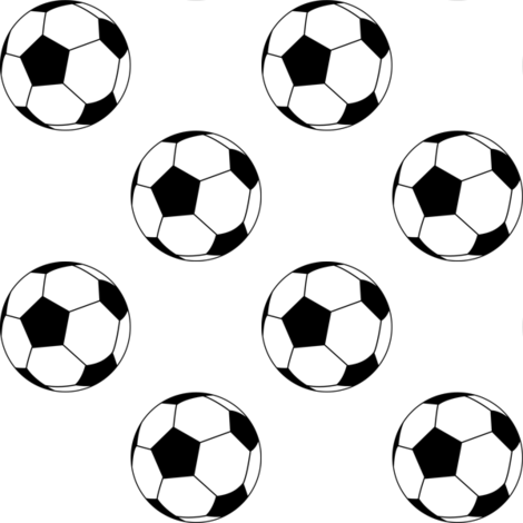 Two Inch Black and White Soccer Balls on White fabric by mtothefifthpower on Spoonflower - custom fabric