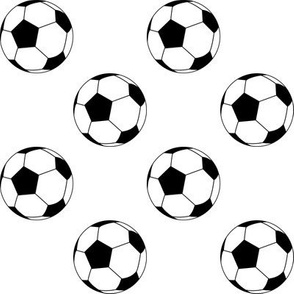Two Inch Black and White Soccer Balls on White