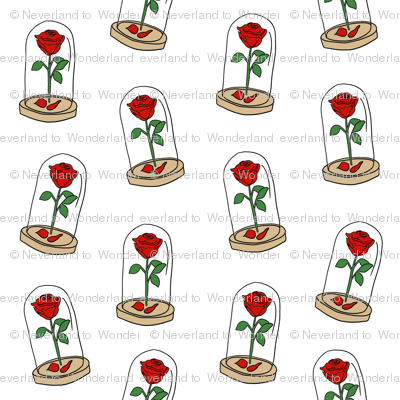 enchanted rose pattern fabric - magical rose, belle, beauty, rose fabric - magic rose - white
