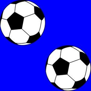 Three Inch Black and White Soccer Balls on Blue